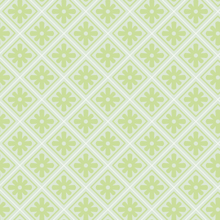 pale green: Seamless pale green pattern with tiles and flowers Illustration