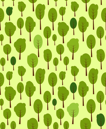 uncultivated: Seamless pattern with green trees Illustration