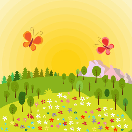 Summer landscape with trees, rocks, flowers and butterflies