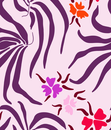 big leafs: Pattern with big purple leafs and flowers on pink background