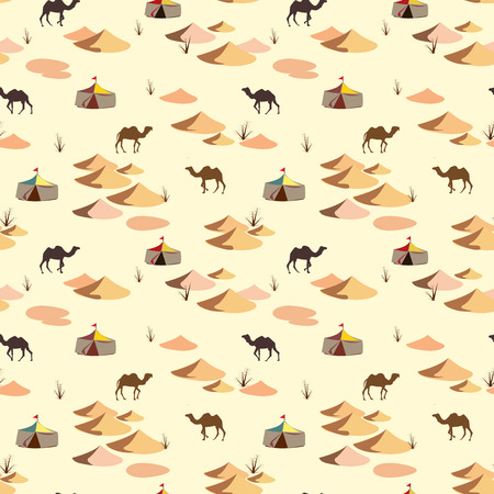 viewpoints: Seamless pattern with camels and dunes on the desert