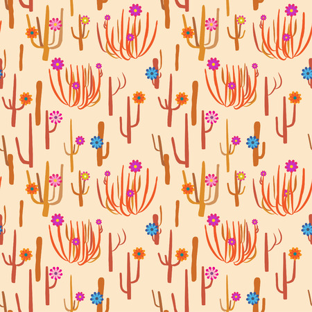 national parks: Seamless pattern with cactuses and flowers