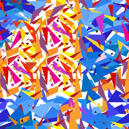 orange pattern: Seamless geometric blue, orange pattern with triangles Illustration