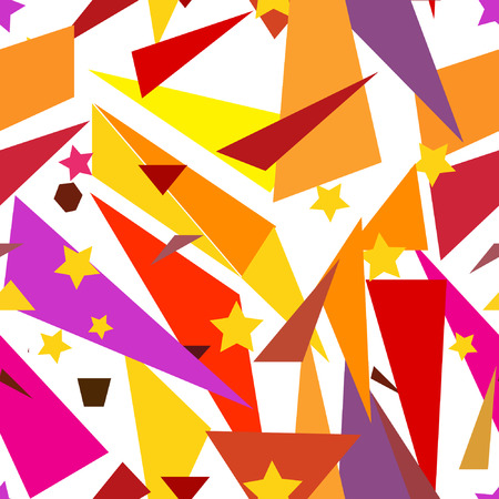 orange pattern: Seamless geometric yellow, orange pattern with triangles