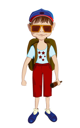 packsack: Small boy with big sunglasses, backpack and binoculars