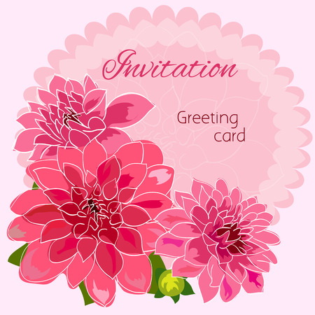romantic: Romantic flower greeting card with dahlias and copy space