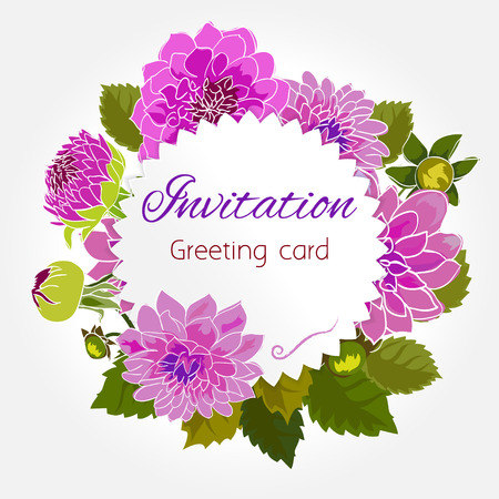 floral elements: Romantic flower greeting card with dahlias and copy space