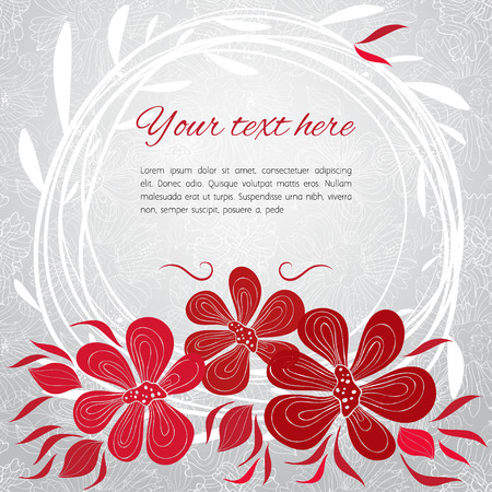 flowerbed: Gentle grey card with red flowers and white lace and branches Illustration