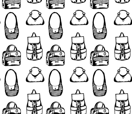 Seamless black and white pattern with different styled hand drawn bags Illustration