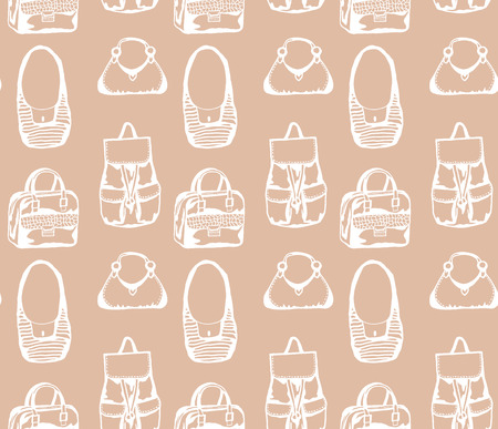 poke: Seamless brown pattern with different styled hand drawn bags