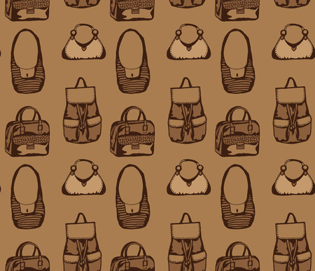 Seamless brown pattern with different styled bags