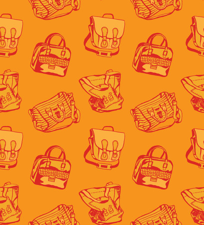 Seamless orange pattern with different styled bags