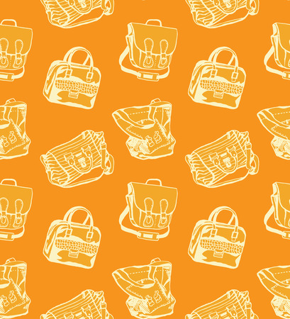orange pattern: Seamless orange pattern with different styled bags