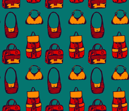 Seamless pattern with different colorful styled bags