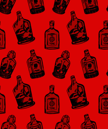 aperitif: Seamless pattern with different alcohol bottles