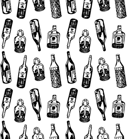 illustrate: Seamless pattern with different alcohol bottles