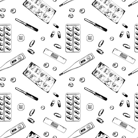 iodine: Seamless pattern with different medicine items