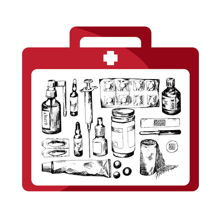 first aid kit: Red first aid kit with different objects: bandages, injection, capsule, pipette, medicine, drops, syrup, plaster, thermometer, iodine, pill, medical bottle, vitamins.