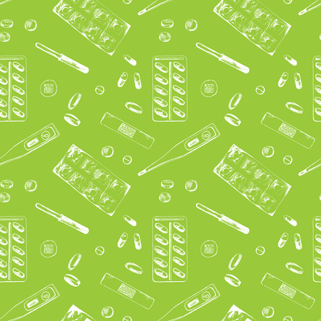 Seamless pattern with different medicine items