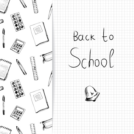 School background with different objects and copy space with word