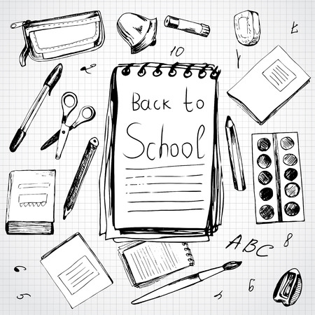 rubber band: School background with different objects and copy space with word Back to school