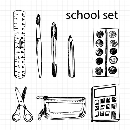 scratchpad: Set of different school items: ruler, scissors, pen, pencil, calculator, brush, pencil-case, paints
