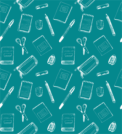 Seamless school pattern with notebooks, scissors, rubber, sharpener; eraser, pencil-box, pen and pensil