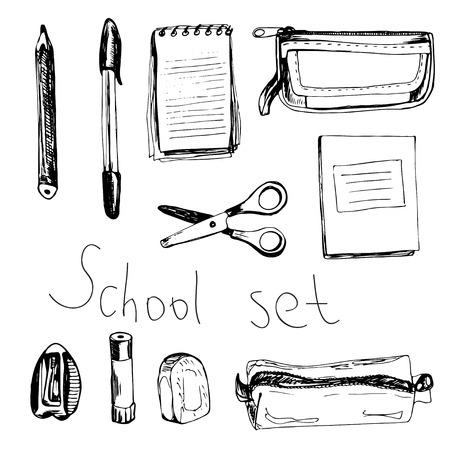 jotter: School set with notebooks, scissors, rubber, sharpener; eraser, pencil-box, pen and pensil