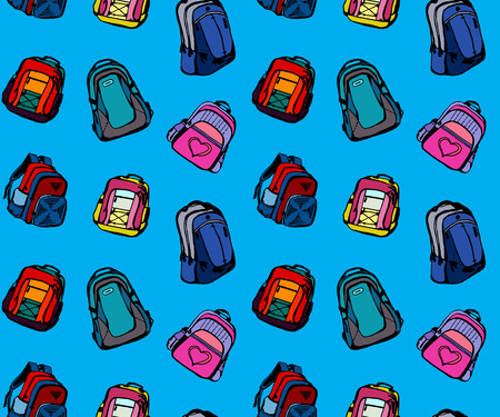 packsack: Seamless pattern with different cute school bags Illustration
