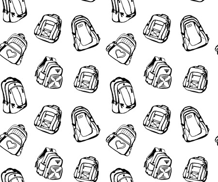 back pocket: Seamless pattern with different cute school bags Illustration