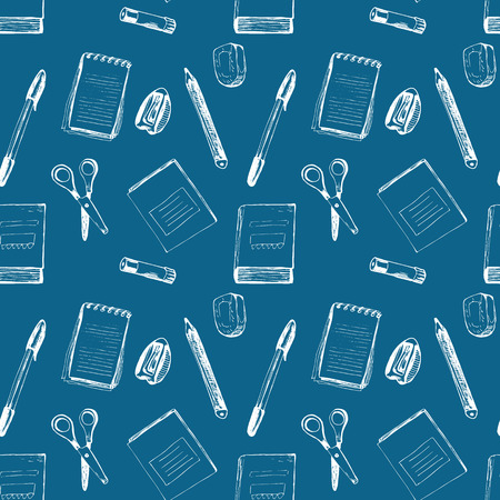 pensil: Dark seamless pattern with notebooks,  scissors, rubber, sharpener; eraser, pen and pensil Illustration