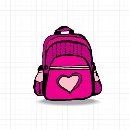 Colorful school bag on white square cell background Çizim