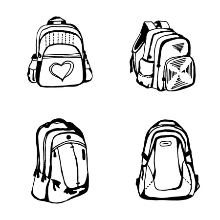 Black ans white school bag sketch on white square cell background