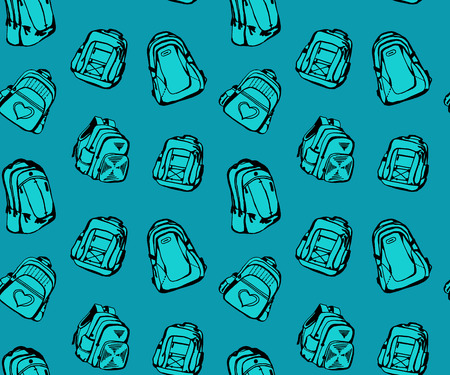 knapsack: Seamless pattern with different cute school bags Illustration