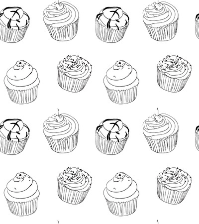 baking: Different types of hand drawn cute cupcakes