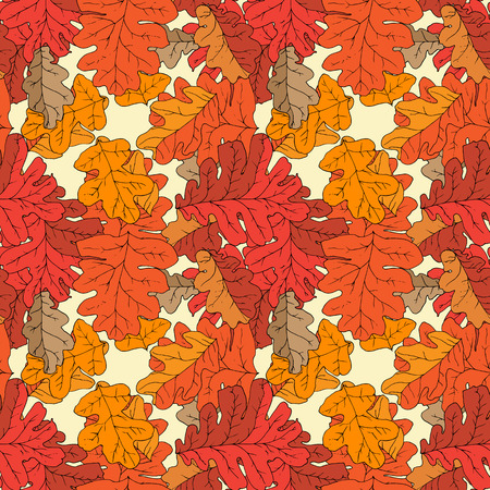 intricacy: Seamless pattern with different fall oak leafs