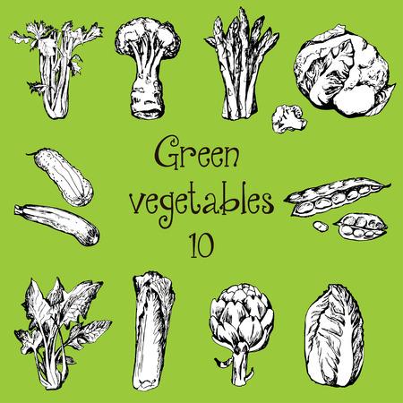 Mano conjunto elaborado de verduras