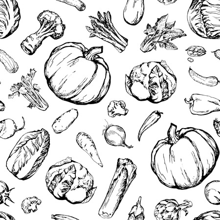 spinach salad: Seamless pattern with different vegetables