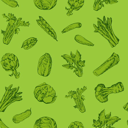 green vegetables: Seamless pattern with green vegetables Illustration