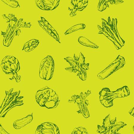 verduras verdes: Patr�n sin fisuras con verduras Vectores