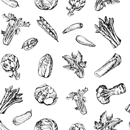 spinach salad: Seamless pattern with green vegetables Illustration
