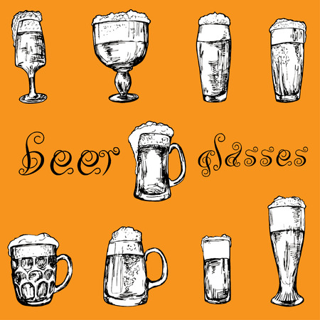 drinkware: Hand drawn different glasses of beer