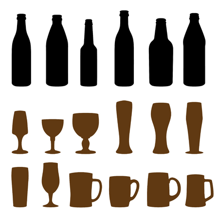 types of glasses: Different types of glasses and bottles for drinking Illustration