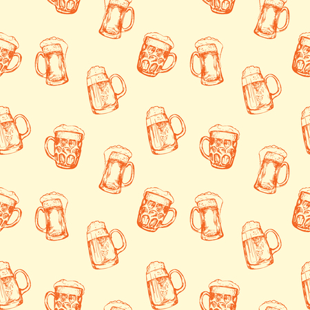 drinkware: Seamless background with different glasses of beer