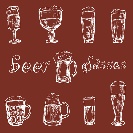 frothy: Hand drawn different glasses of beer
