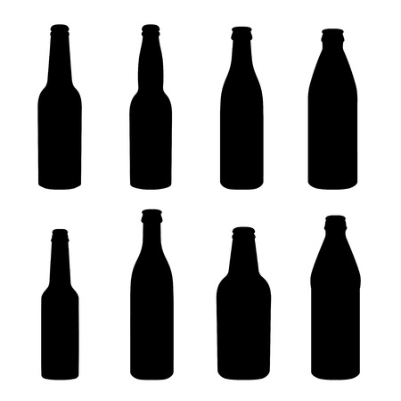 glasses of beer: Silhouettes of different alcohol bottles