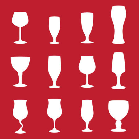 types of glasses: Different types of glasses for drinking Illustration