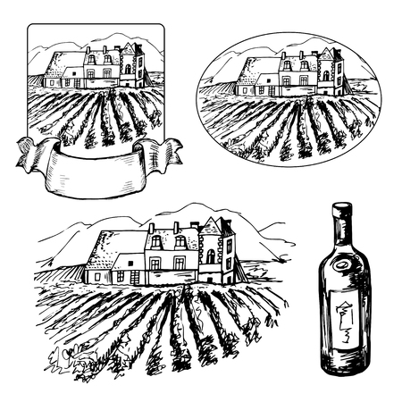 Set of different symbils of vineyard and bottle of wine