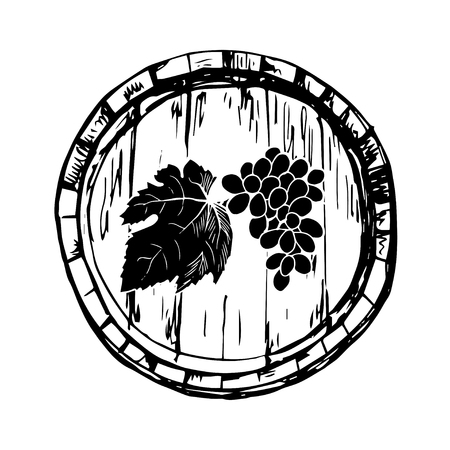 black grape: Black and white hand dranw barrel of vine with bunch of grape Illustration