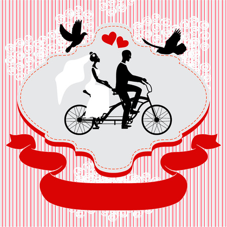 Vintage wedding frame with bicycle and pegions Illustration